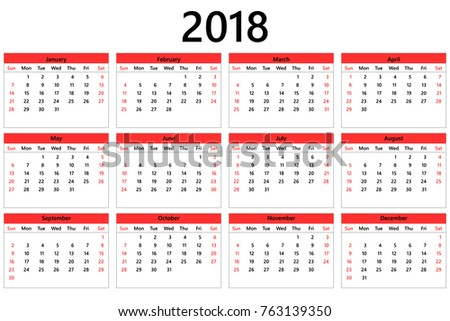 2018 Year Calendar Template Week Starts Stock Vector Hd Royalty