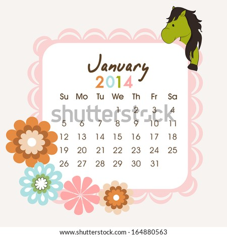 2014 year calendar with Chinese symbol, year of the horse and beautiful flowers.