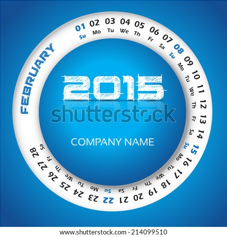 2015 Year Circular Calendar Business Wall Stock Vector 214099480 ...
