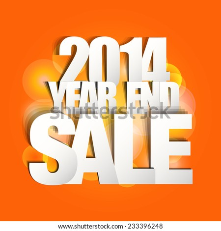 2014 Year End Sale Poster (Paper Folding Design)  - stock vector