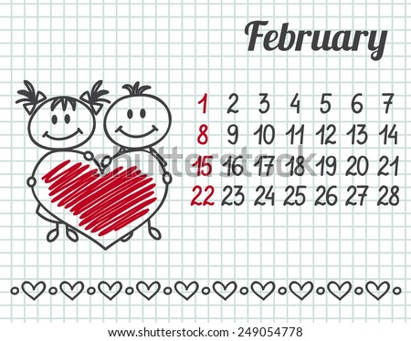 2015 year hand-drawn calendar (week starts on Sunday). February. - stock vector