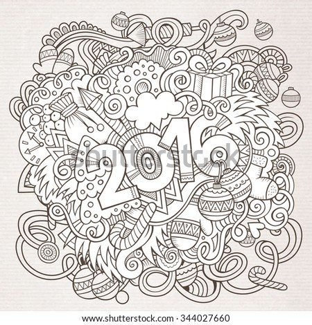 2016 year hand lettering and doodles elements background. Vector sketchy illustration
