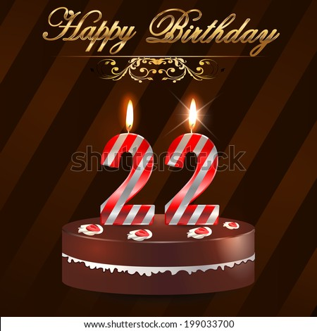 22 Year Happy Birthday Card Cake Stock Vector Royalty Free