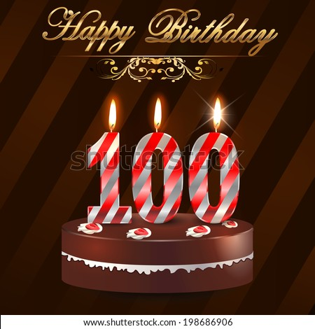 100 year happy birthday card cake stock vector 198686906 100 year happy birthday card with cake and candles 100th birthday vector eps10 bookmarktalkfo Images