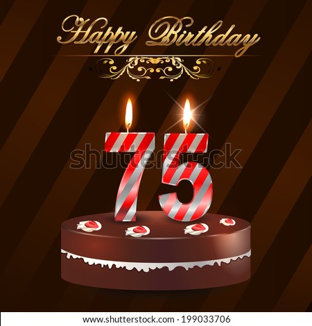 75 Year Happy Birthday Card Cake Vector 199033706 Shutterstock – 75 Birthday Card