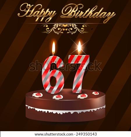 67 Year Happy Birthday Card Cake Stock Vector 249350143