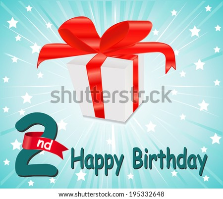 2 year Happy Birthday Card with gift and colorful background in vector EPS10 - stock vector