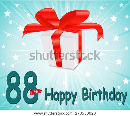88 year Happy Birthday Card with gift and colorful background in vector EPS10 - stock vector