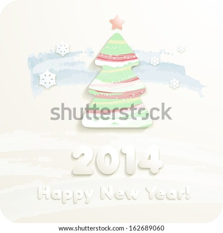 2014 year numbers, 3d Joyful cut paper Christmas tree and snowflakes. Pastels. Vector Eps 10. - stock vector