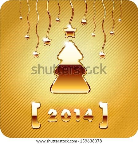 2014 year numbers, 3d Joyful gold metal cristmas tree and stars. Vector Eps 10. - stock vector