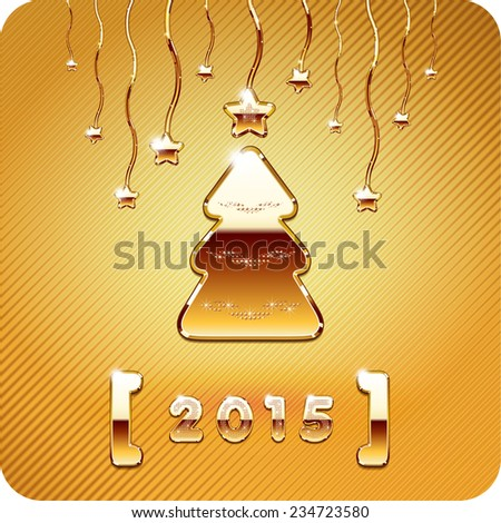 2015 year numbers, 3d Joyful with gold filigree cristmas tree and stars. Vector Eps 10. - stock vector