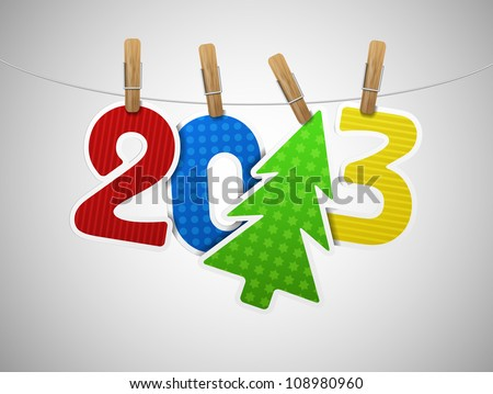 2013 year of paper on the clothespin. Eps 10 - stock vector