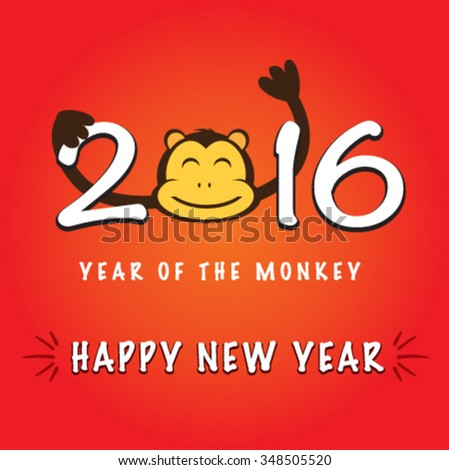 year of the monkey happy new year - stock vector