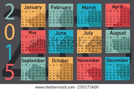 2015 year vector calendar - stock vector