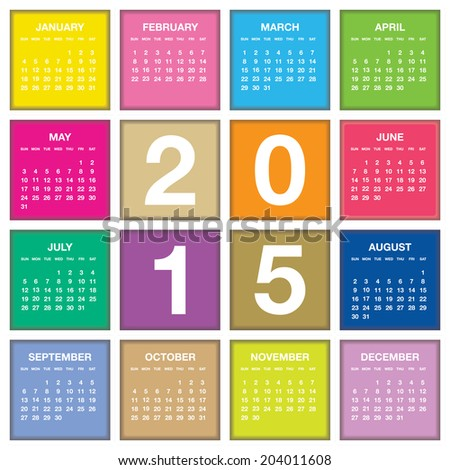 2015 year vector calendar / 2015 calendar design / 2015 calendar vertical - week starts with Sunday