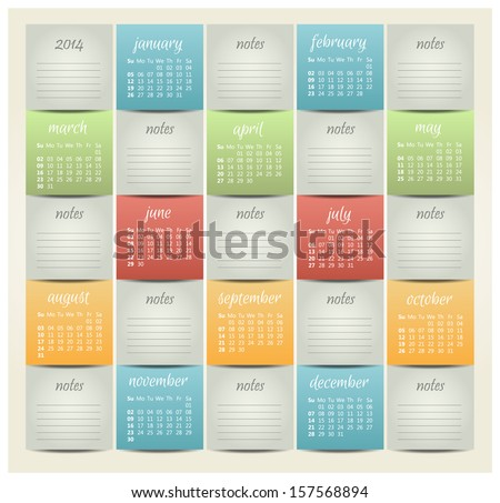 2014 year vector calendar for business wall calendar - stock vector