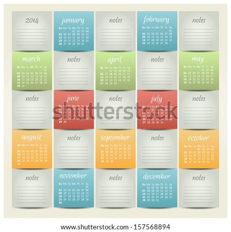 2014 year vector calendar for business wall calendar - stock vector