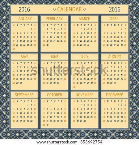 2016 year vector calendar. Vector template with 12 months. Calendar template on vintage background.