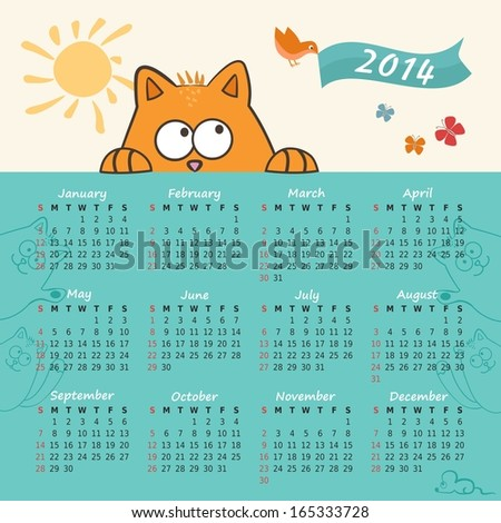 2014 year vector calendar with the cat - stock vector