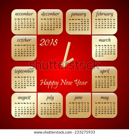 2015 year vector red and gold calendar stylized clock for business wall calendar
