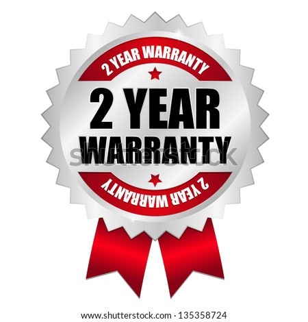 2 year warranty seal red - stock vector