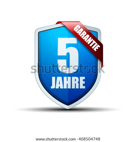 5 Year Warranty shield (non-English text - 5 Year Warranty) - stock vector