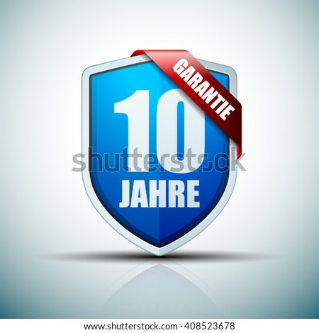 10 Year Warranty shield (non-English text - 10 Year Warranty)