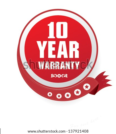 10 year warranty sign,vector