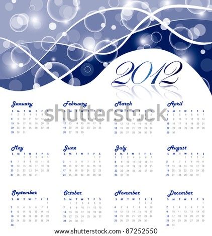 2012 yearly calendar with abstract background - stock vector