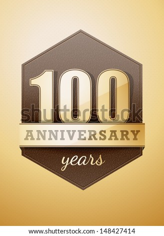 100 years anniversary birthday card - stock vector