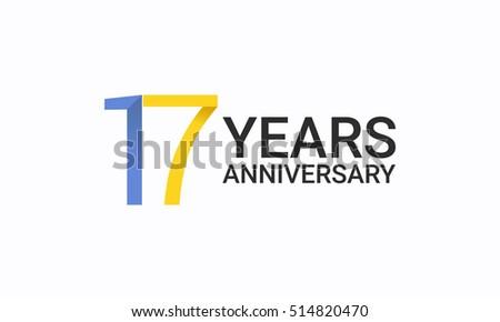 17 Years Anniversary Birthday Symbols Signs Stock Vector 514820470