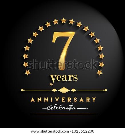 7 Years Anniversary Celebration Anniversary Logo Stock Vector