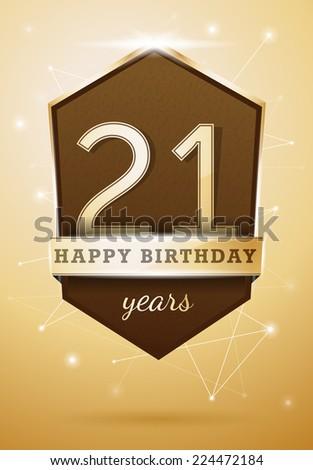 21 Years Anniversary Celebration Design Birthday Card - stock vector