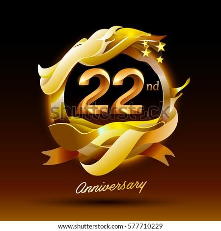 22 years anniversary celebration logo stock vector royalty free