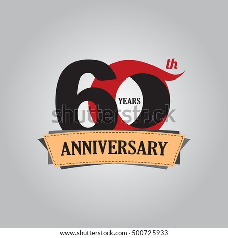 60 years anniversary celebration logo design with decorative ribbon or banner. Happy birthday sign,