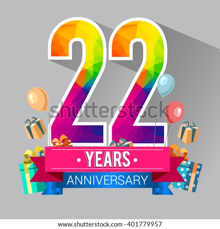 22 Years Anniversary celebration logo, 22nd Anniversary celebration, with gift box and balloons, colorful polygonal design.