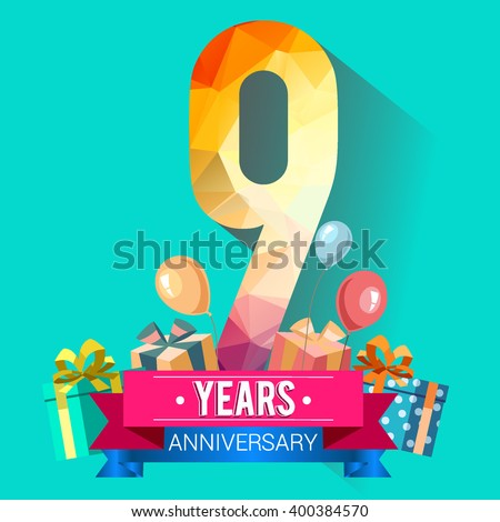 9 Years Anniversary celebration logo, 9th Anniversary celebration, with gift box and balloons, colorful polygonal design. - stock vector