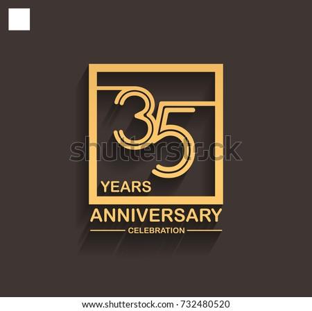 35 Years Anniversary Celebration Logotype Style Stock Vector Hd