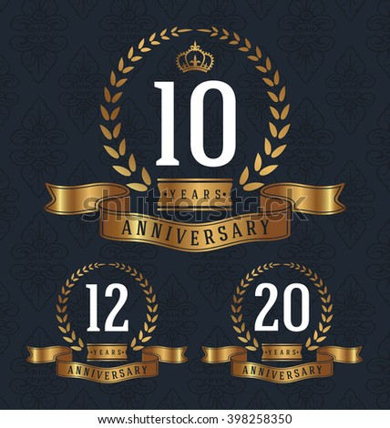 10,12,20 Years Anniversary decorative sign. Vector illustration