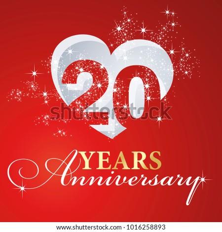20 Years Anniversary Firework Heart Red Stock Photo Photo Vector