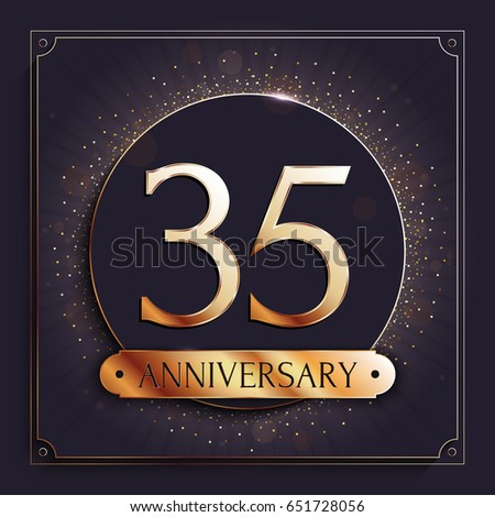 35 Years Anniversary Gold Banner On Stock Vector 651728056