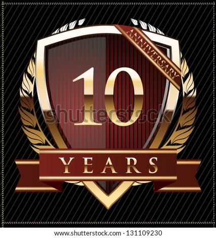 10 years anniversary golden label - stock vector