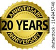 20 years anniversary golden label with ribbon, vector illustration - stock photo