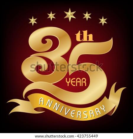 35 Years Anniversary Golden Laurel Wreath Stock Vector 423755449