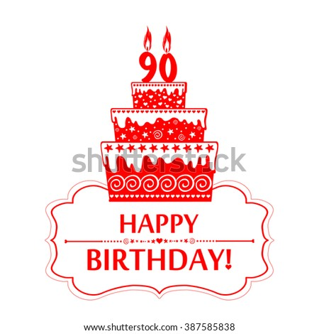 90 years anniversary. Happy birthday card. The birthday cake with candles in the form of number 90 icon. Vector illustration - stock vector