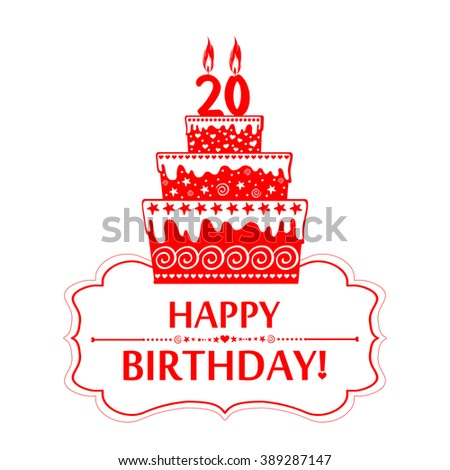 20 years anniversary. Happy birthday card. The birthday cake with candles in the form of number 20 icon. Vector illustration