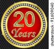 20 years anniversary, happy birthday golden icon with diamonds, vector illustration - stock vector