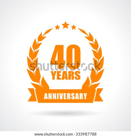 40 years anniversary icon isolated on white background - stock vector