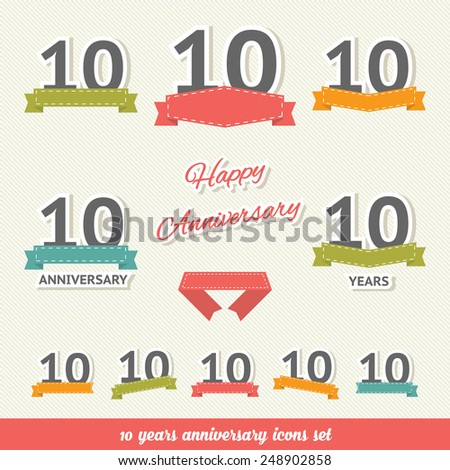 10 years anniversary icons collection - stock vector