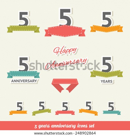 5 years anniversary icons collection - stock vector